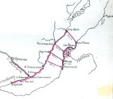 Байкал. Карта первых экспедиций.